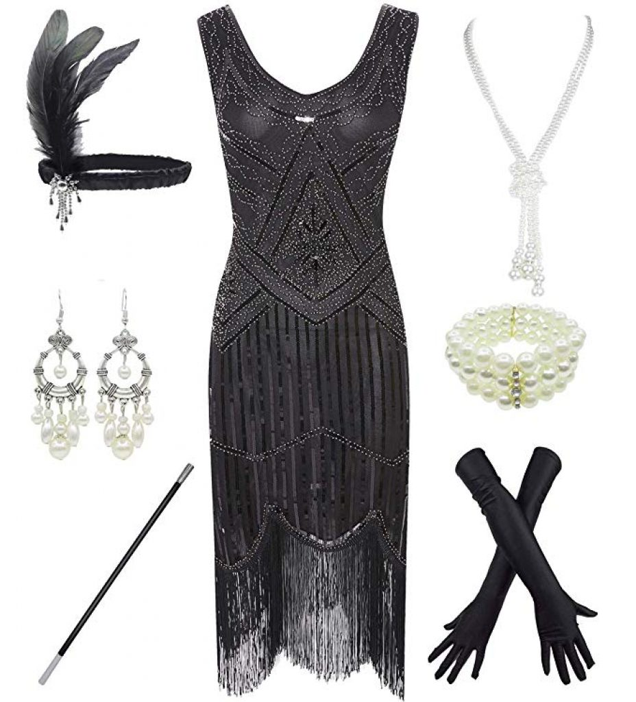 Complete flapper costume